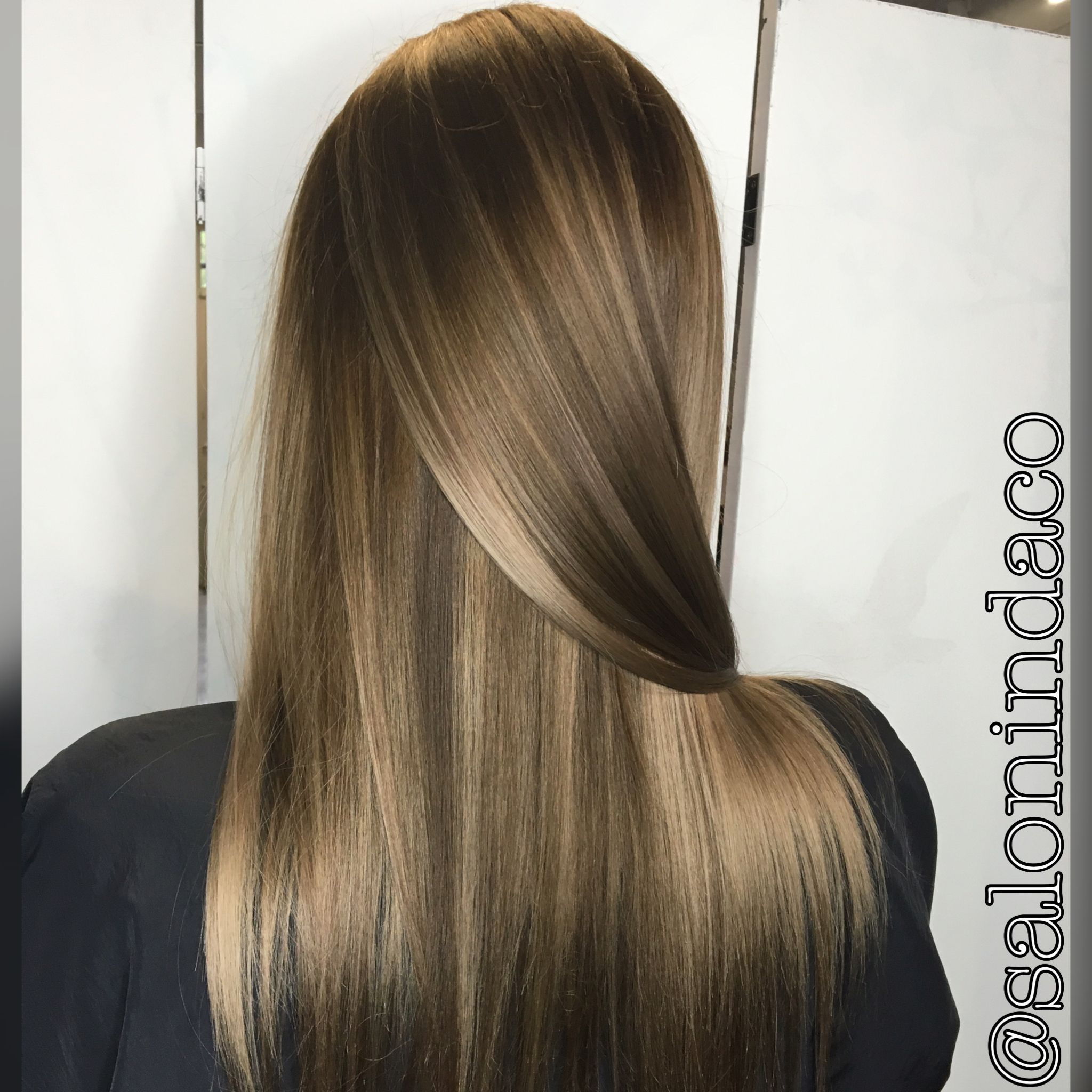 Ash brown base with cool blonde highlights and dark chocolate