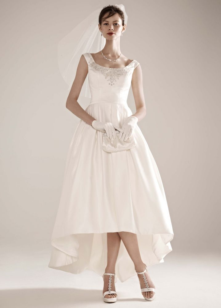 5e59ba8791 High-Low Off the Shoulder Satin Ball Gown