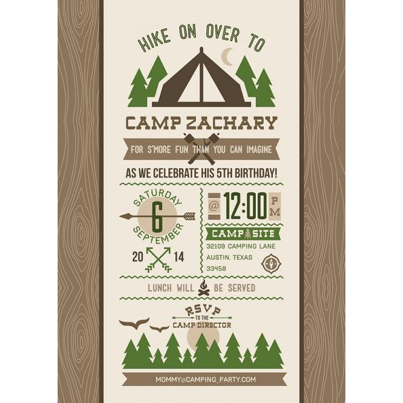 Camping Theme Invitations: Outdoor Adventure Camping Forest S'mores Sleepover Camp