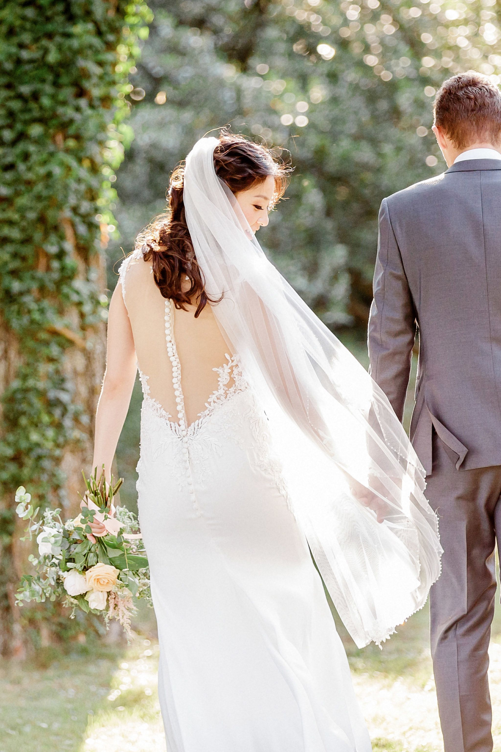 Crepe and lace wedding dress jeanna in lauren hair