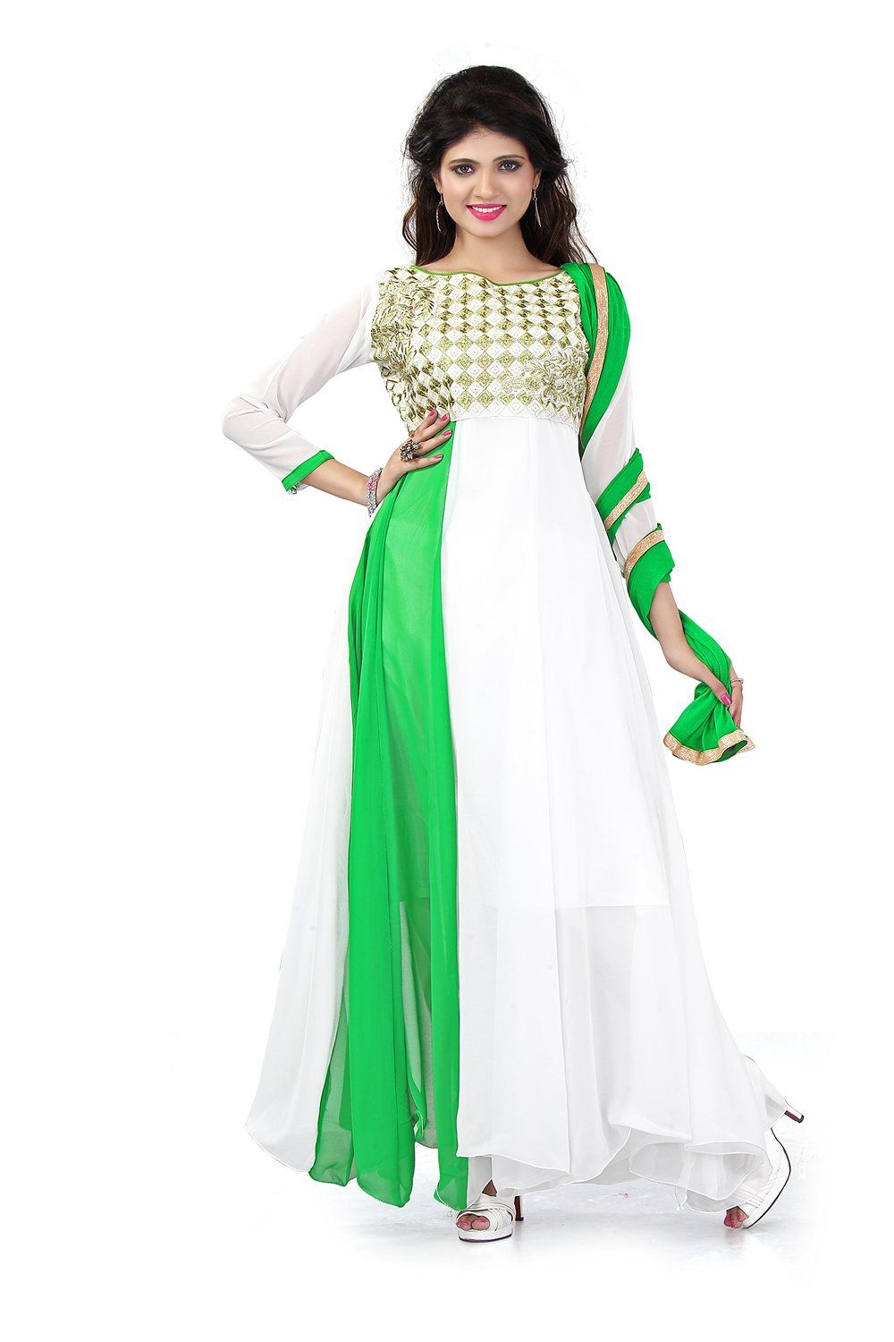103c002088a chakudee by white georgette drees material  Amazon.in  Clothing    Accessories