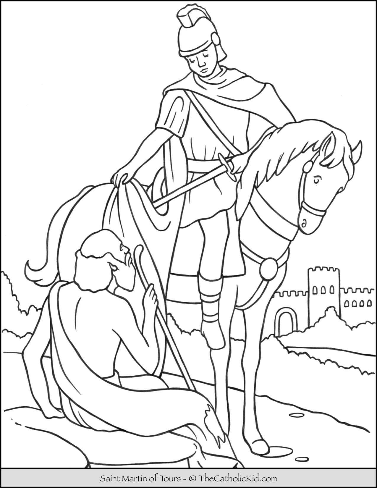 Saint Martin Of Tours Coloring Page Thecatholickid Com St