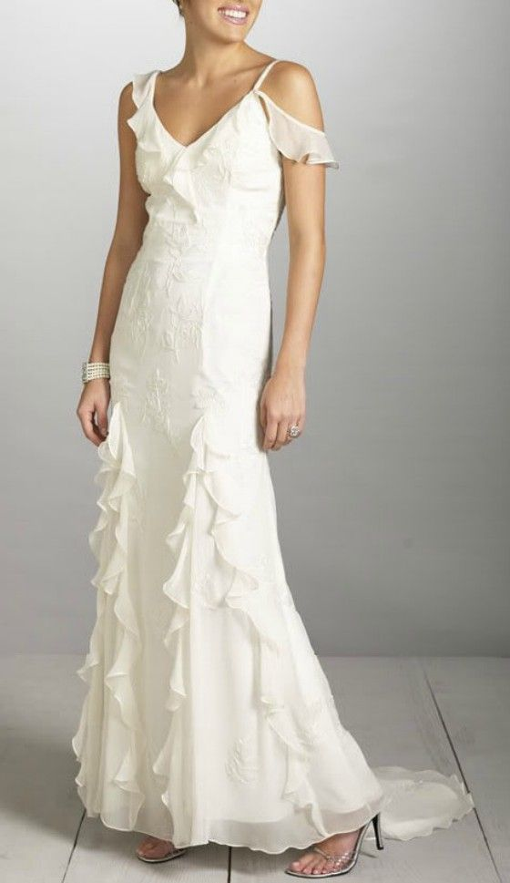 Simple Chiffon Flounce Wedding Dress For Older Brides Over 40 50 60 70 Elegant Second Ideas