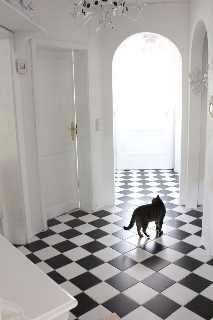 Every black and white checkered floor needs a cute kitty to prance on.