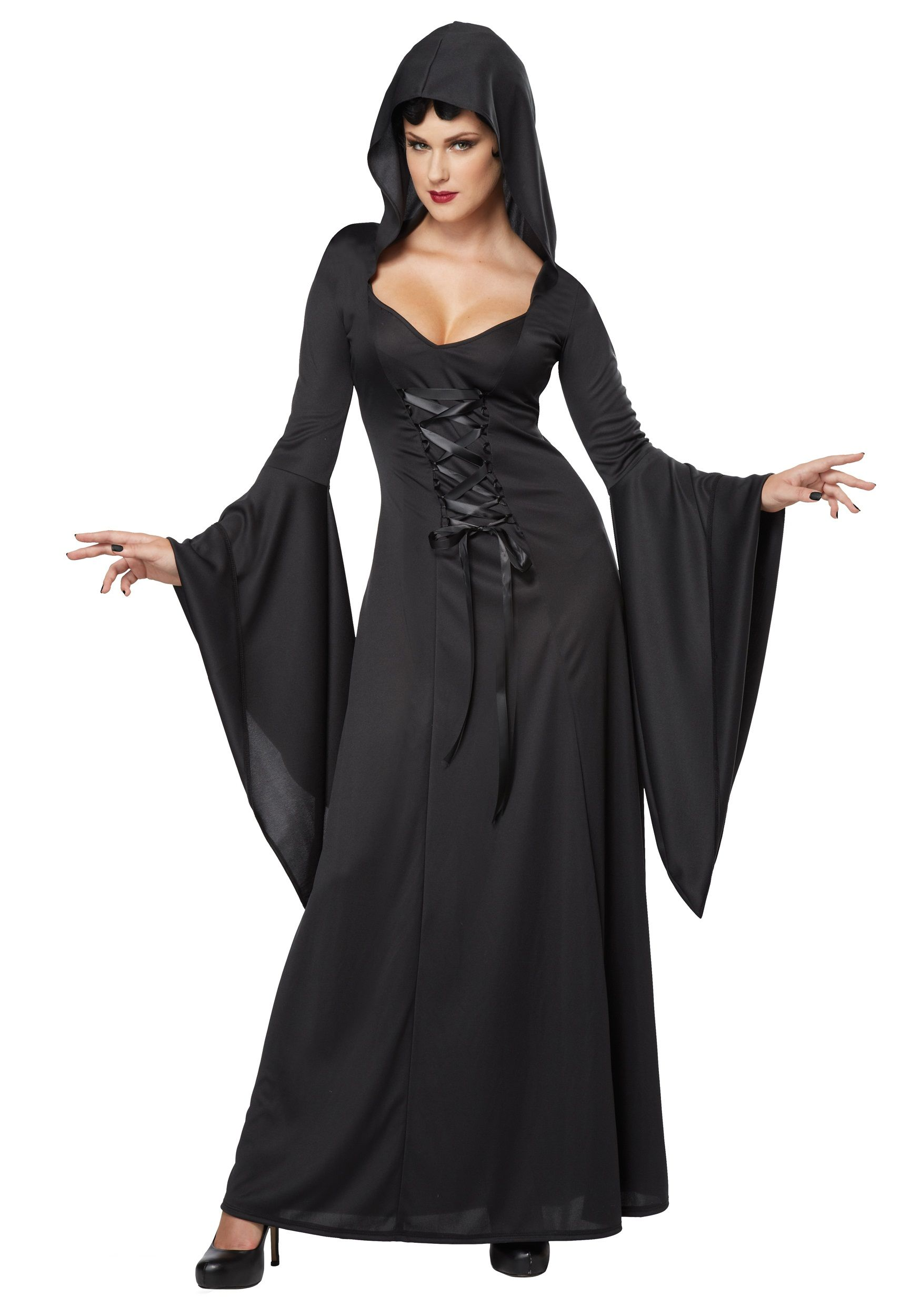 Black Brand New Deluxe Hooded Robe Vampire Adult Costume