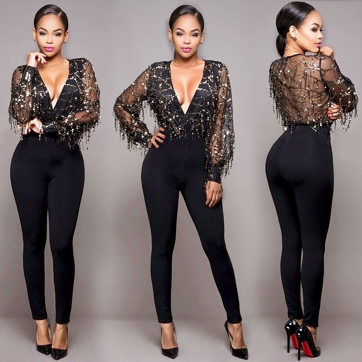 5f2f32fcbe Women Clubwear V Neck Sequin Playsuit Bodycon Party Jumpsuit Romper Trousers