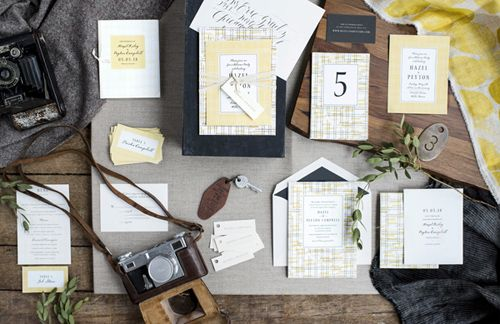 vintage wedding invitations in yellow by hello tenfold