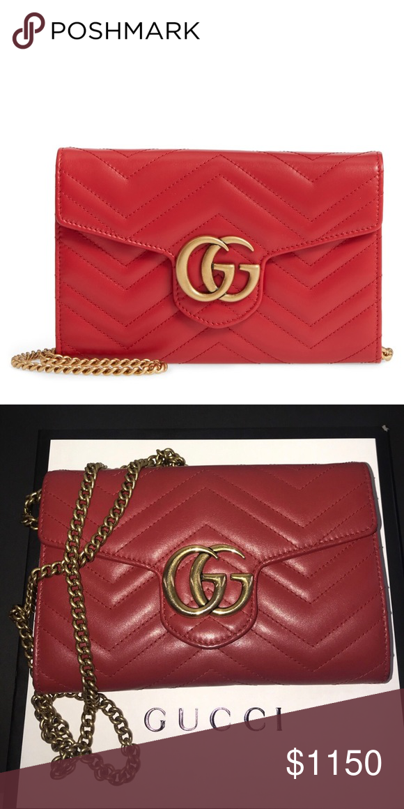 2228f92f Gucci Maramont Wallet On Chain 2.0 Red WOC with gold Strap Gucci ...