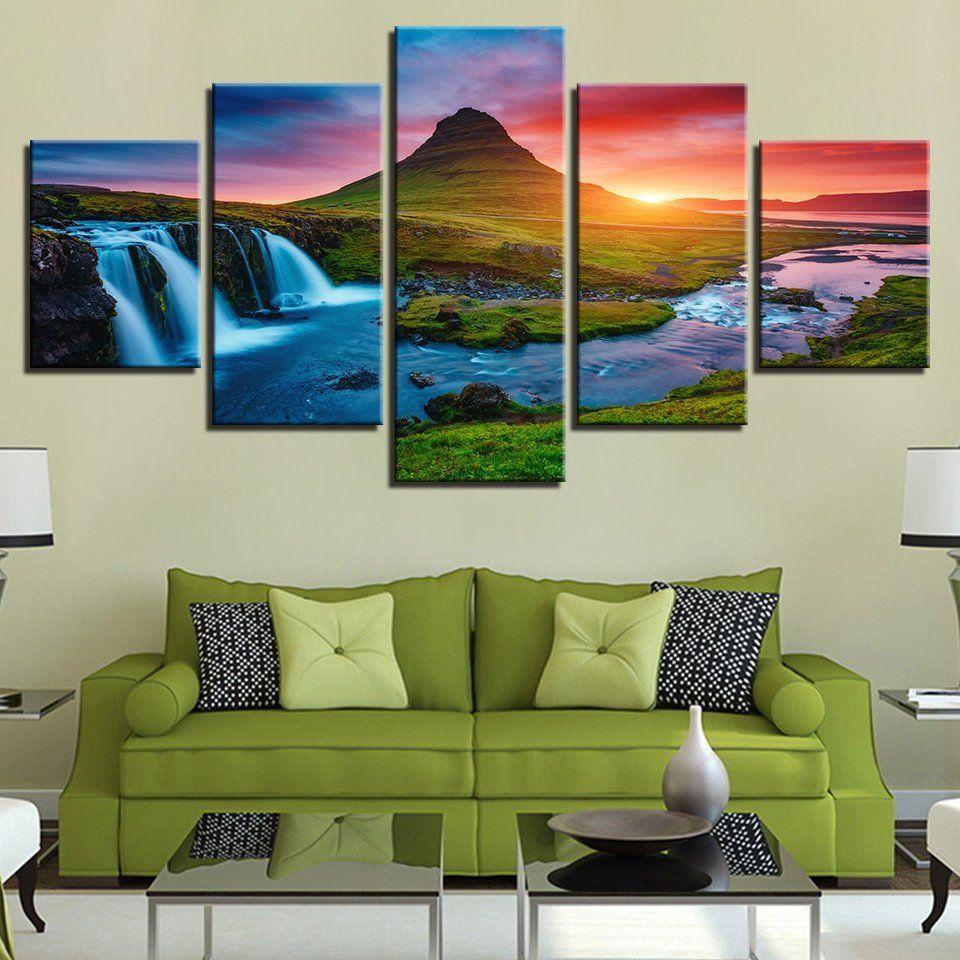 5 panel print decor iceland waterfall canvas set green