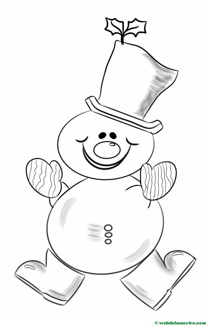 Increíble Colorear Simple Muñeco De Nieve Elaboración - Dibujos Para ...
