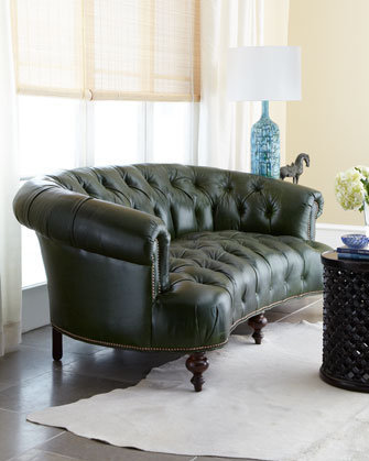Old Hickory Tannery Winter Pine Green Tufted Leather Sofa, Horchow