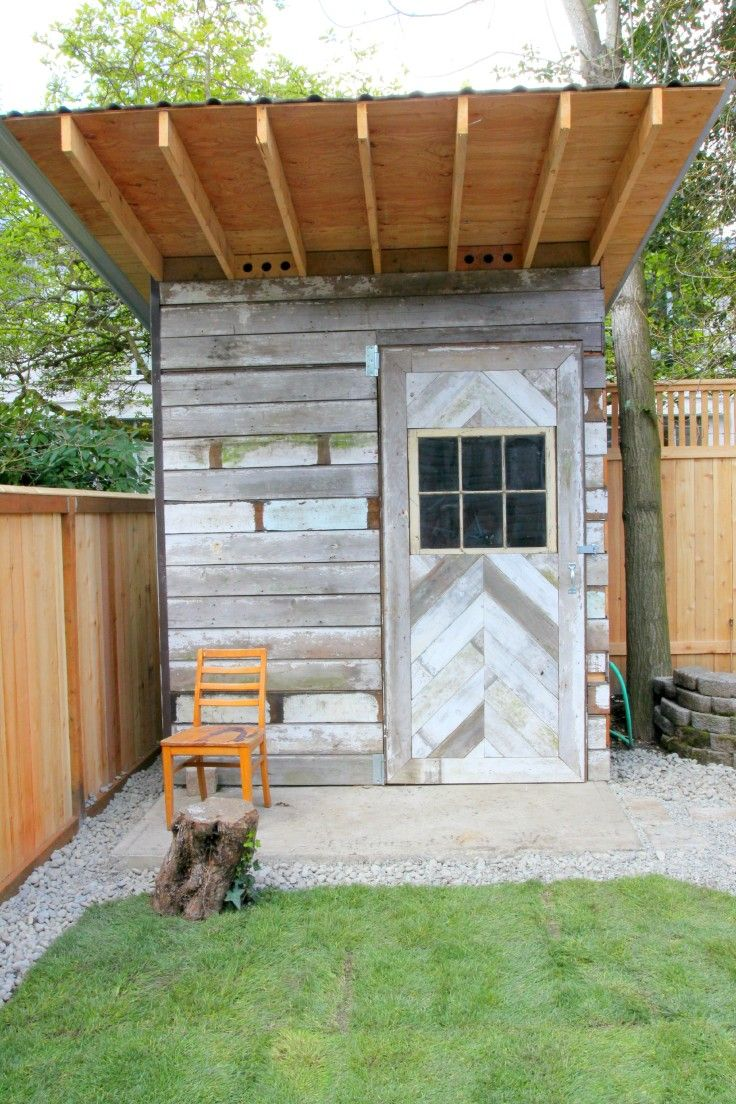 reclaimed wood storage shed with chevron pattern door the grit
