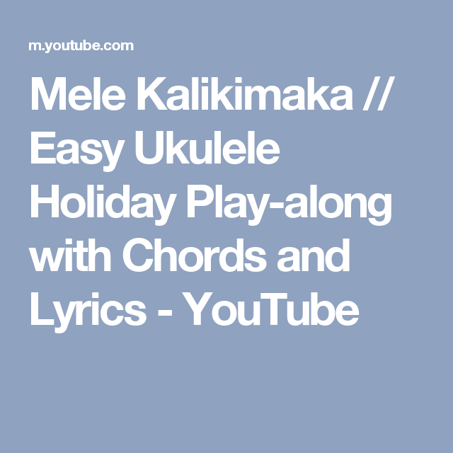 Mele Kalikimaka Easy Ukulele Holiday Play Along With Chords And