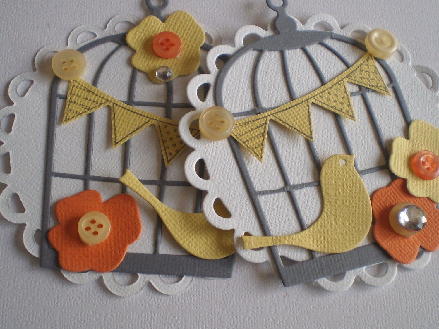 Handmade Scrapbooking Embellishments - set of 2 - bird with bird cage - great for card making too. $4.50, via Etsy.