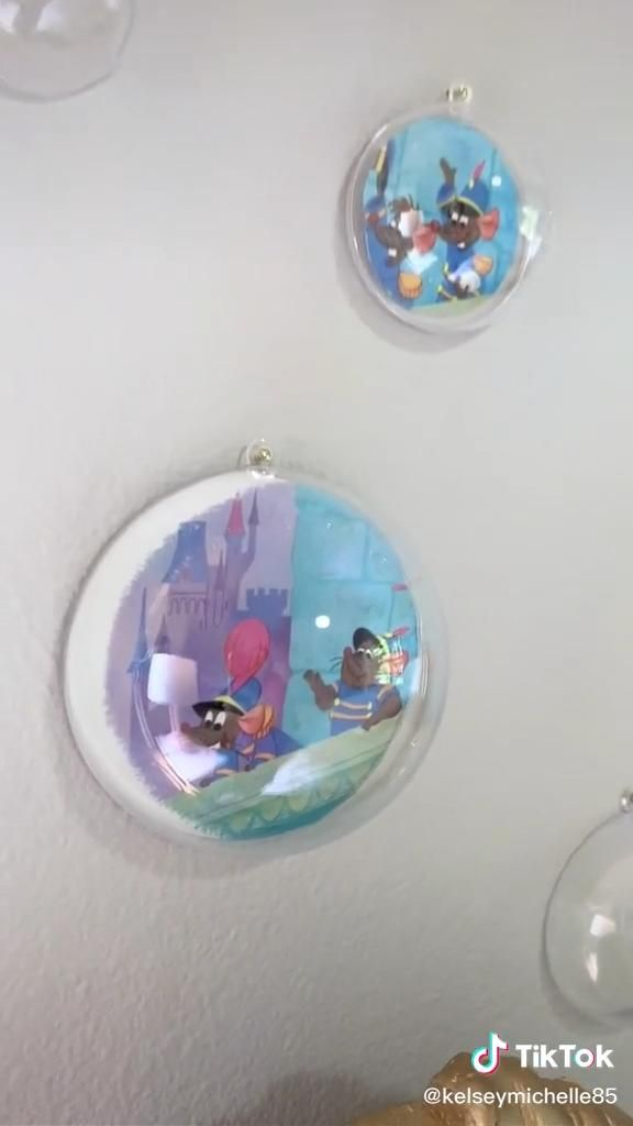 I used ornaments to make bubbles for our Cinderell
