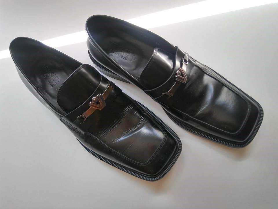 Vintage Versace Classic V2 Black Leather Dress Shoes Size 9 43 Made In Italy Black Leather Dress Shoes Vintage Versace Dress Shoes