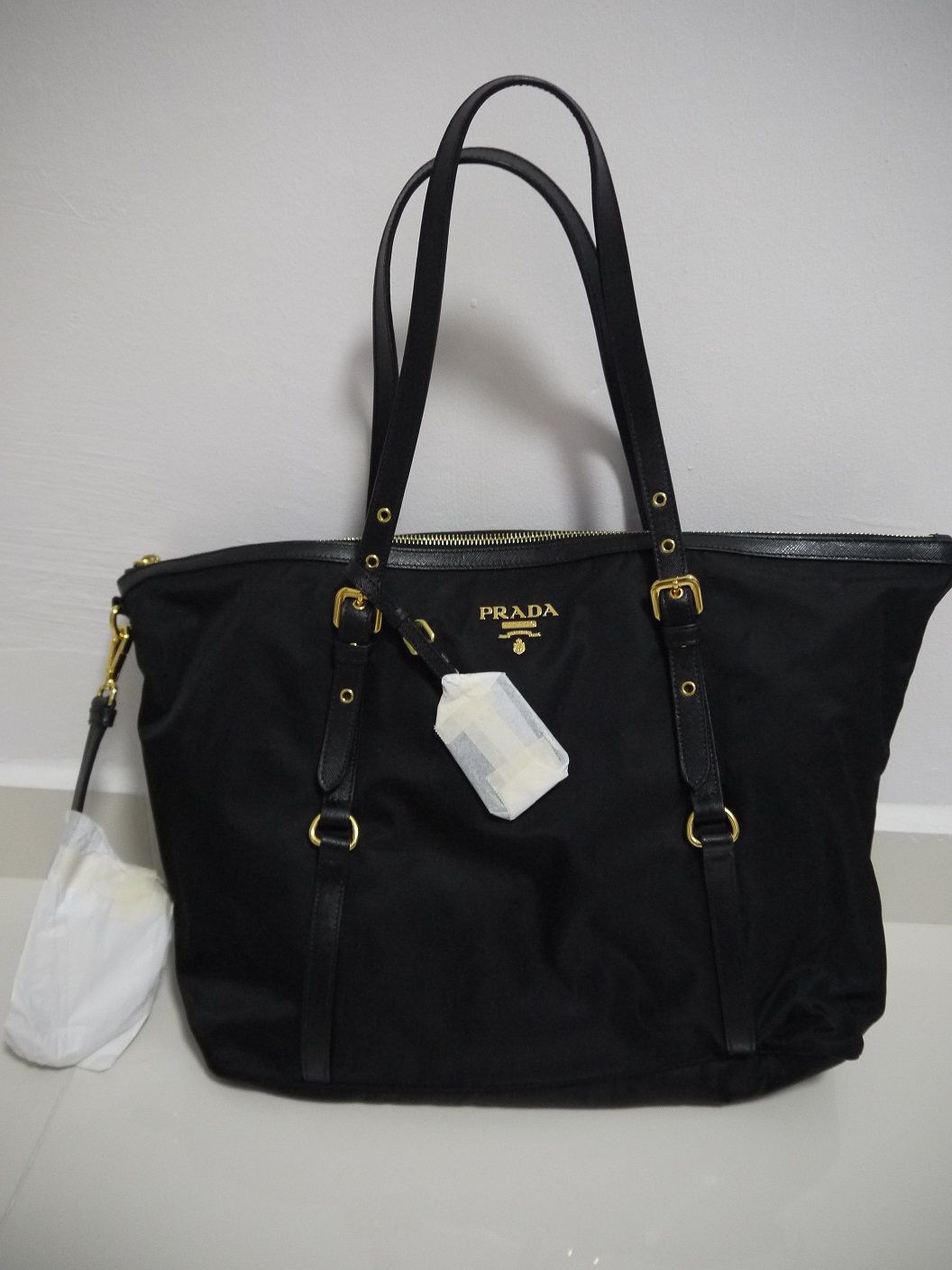 6966b5847f66 Prada Tessuto Saffiano Nylon Tote-Black | Bagging for attention ...