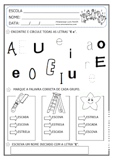 """Alfabetizar com AMOR: MÚSICAS COM AS VOGAIS """"A e E"""" - 2º PERÍODO/ 1º ANO"""