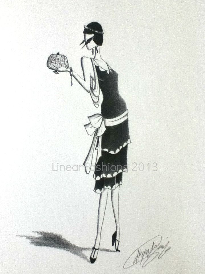 Reserved Fashion Illustration 1920s Flapper Art Black And Etsy Fashion Illustration Vintage 1920s Fashion Illustration Vintage Fashion Illustration