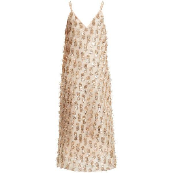 2b3c34e7b6ef Raey V-neck tinsel midi slip dress ($375) ❤ liked on Polyvore featuring  dresses, nude gold, metallic dress, v neck midi dress, holiday party dresses,  slip ...