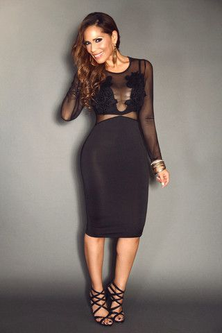 Black Mesh Long Sleeve With Front Flower Detailing Sexy Pencil Dress
