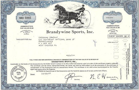 Brandywine Sports Vintage Stock Certificate 1970 S In 2019