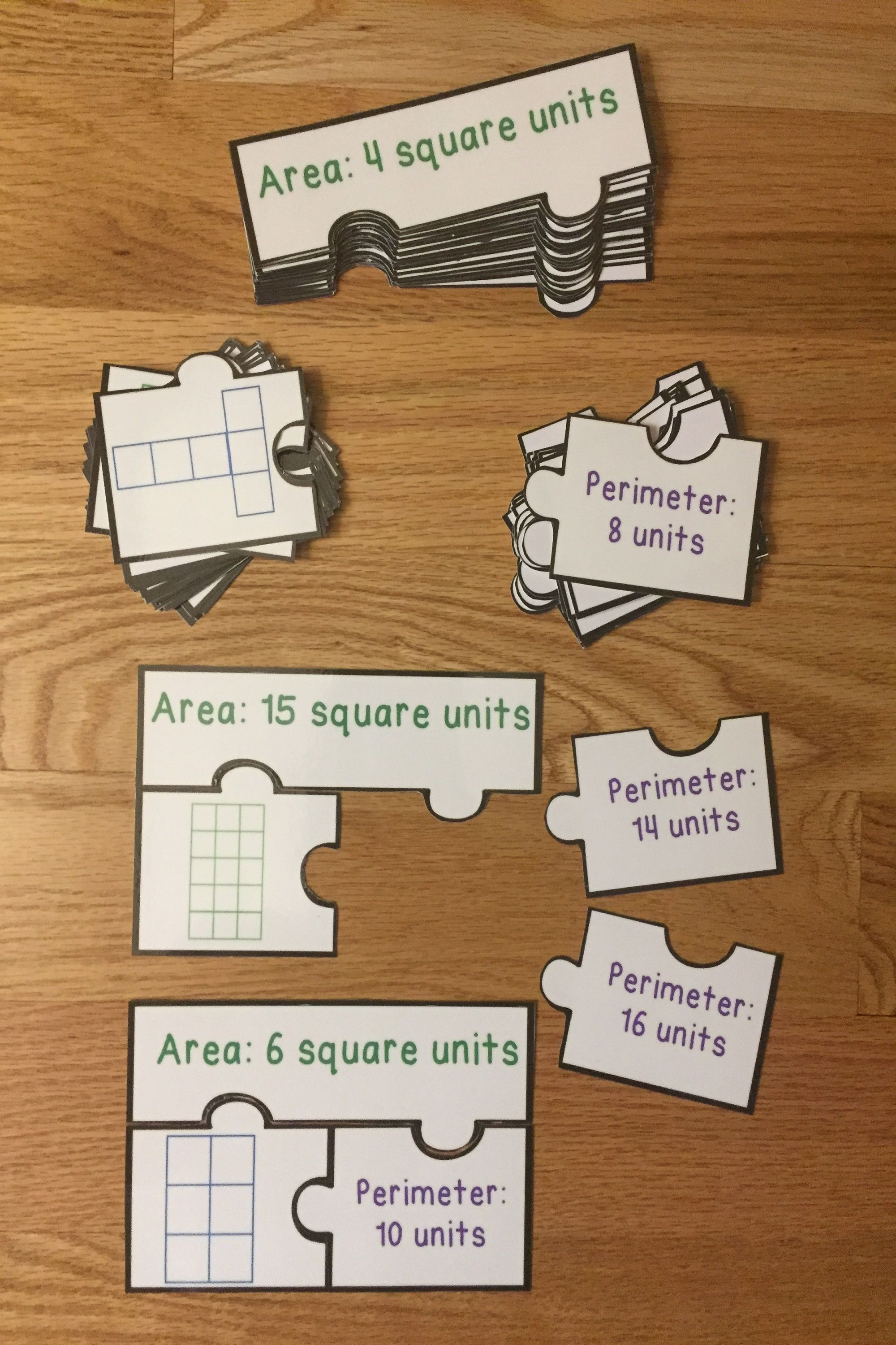 Area And Perimeter Activity Puzzles Find Areas With Unit
