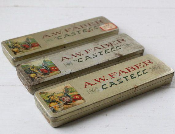 boxes pencil faber castell Vintage metal