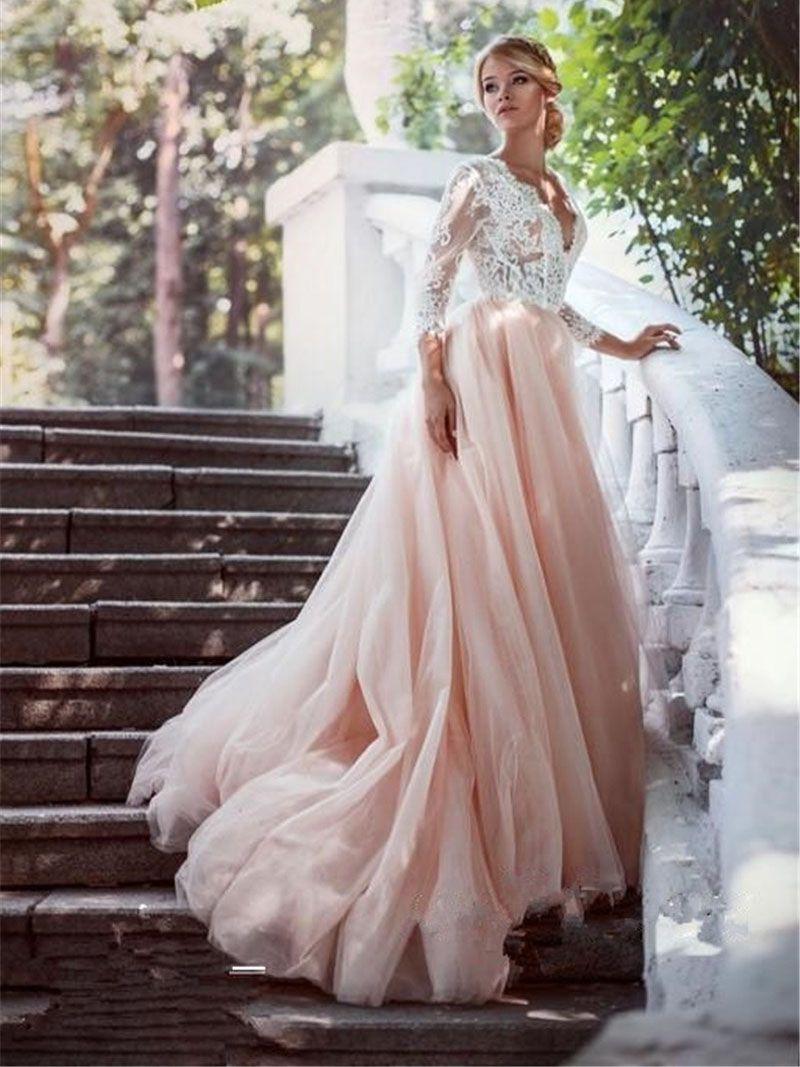 b0ef18178c3 White Lace Sleeves Pink Tulle Long Wedding Dress