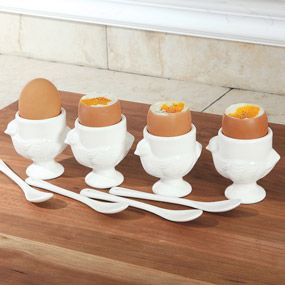 Porcelain Egg Cups with Spoons, 8-Piece   CHEFScatalog.com