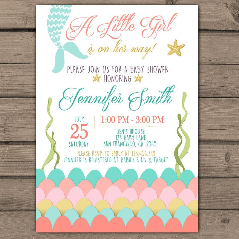 Great Mermaid Baby Shower Invitation Under The Sea Baby Shower Invitation Its A  Girl Hower Mermaid Tail Coral Mint Pink Digital PRINTABLE Mer