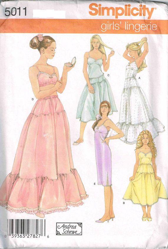 Girls Lingerie Long Slip Camisole Half Slip Bra Simplicity 5011 ...