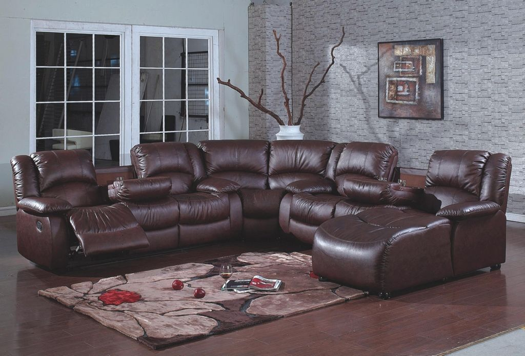 Merveilleux 4 Pc Brown Bonded Leather Sectional Sofa With Recliners And Chaise Lounge  And Drop Down Arms In The Center. This Sectional Includes A Sofa With 2  Recliners ...