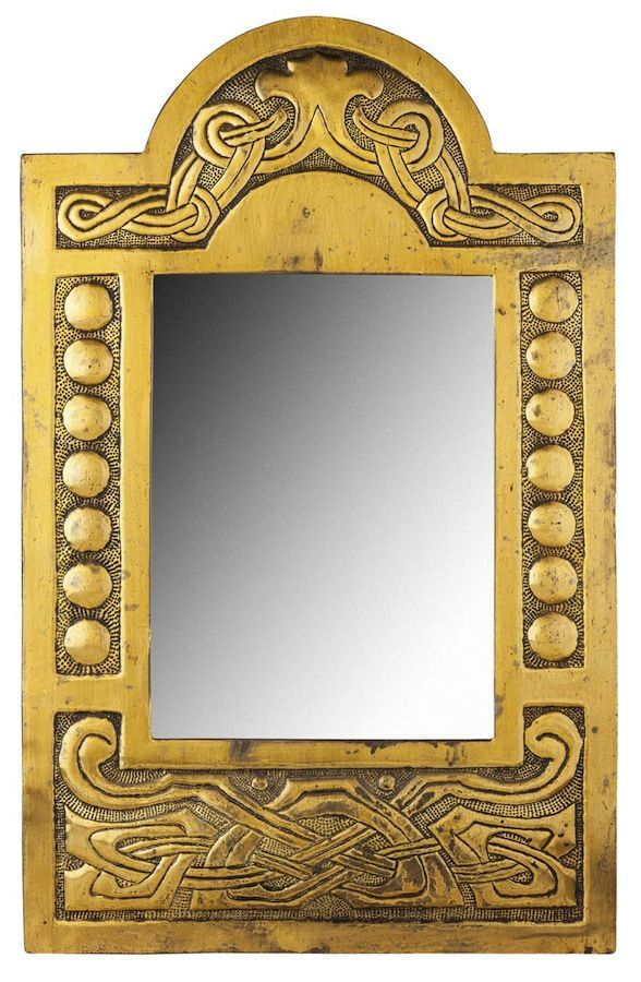 Scottish School Brass Wall Mirror Circa 1910 Of Arched Rectangular Form Repousse Decorated With Celtic Knotwo Antique Frames Mirror Painting Antique Mirror