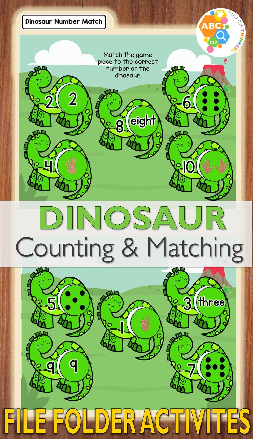 Dinosaur Counting and Matching File Folder Activities | Tot school ...