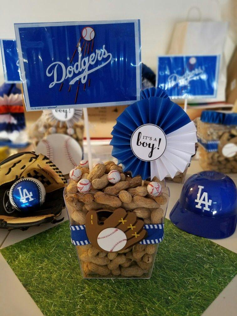 Dodgers baby shower Centerpiece Baseball baby shower
