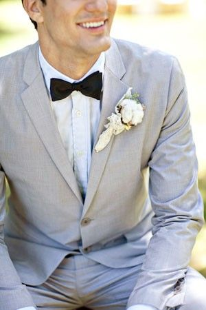7be03cf61 Light grey suits and bow tie for grooms men. Still my favourite look for the  wedding - with a waistcoat tho