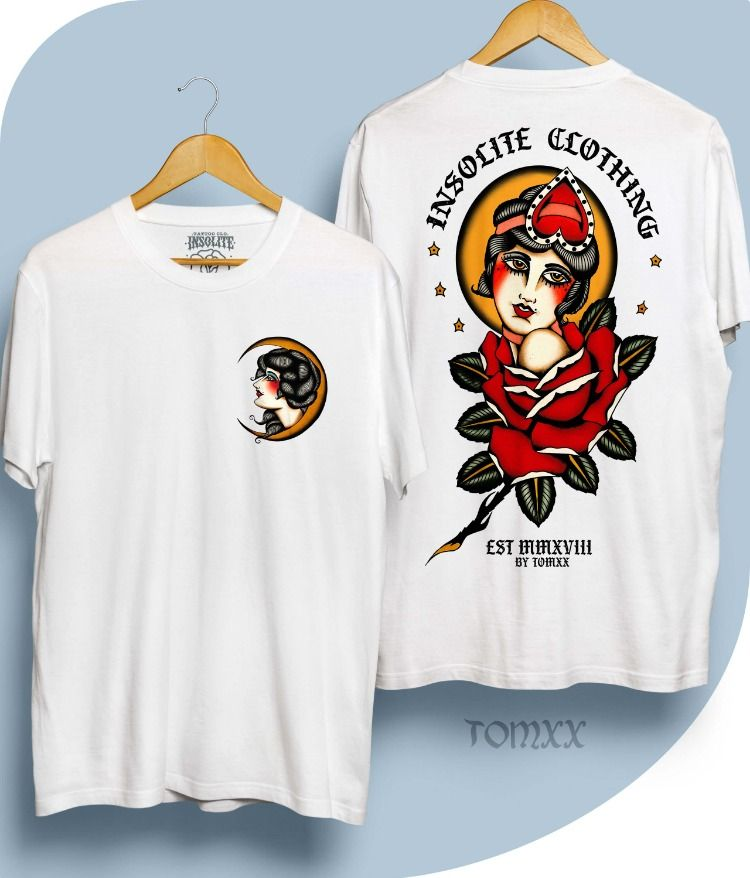 Traditional Roses Tattoo Clothing Moon Designs Traditional Roses Tattoo Old School Shirt Logo Design Minimal Shirt Design Shirt Illustration