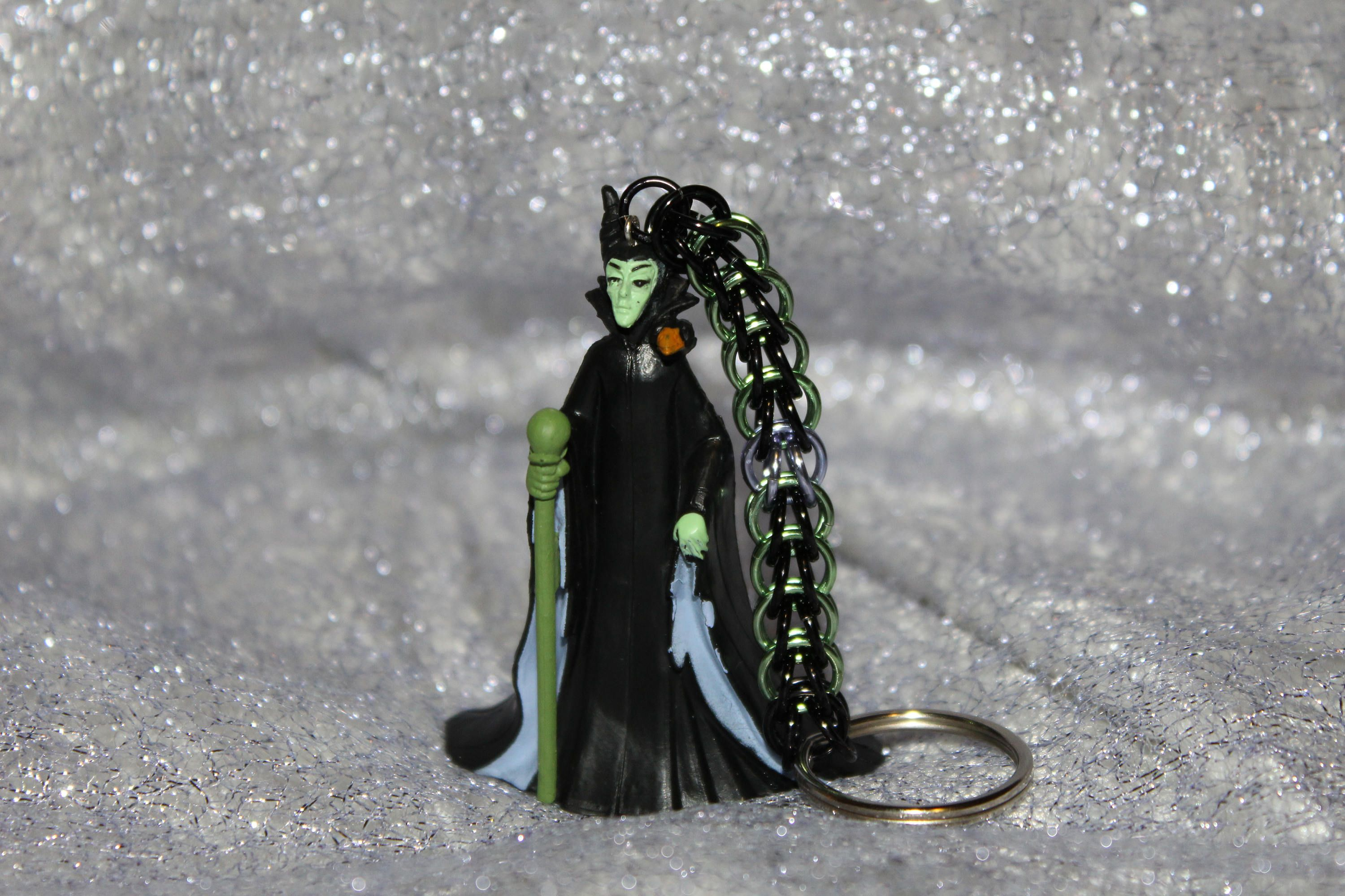 Custom handcrafted disney maleficent chainmaille keychain
