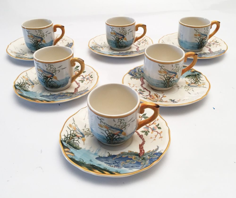 Gien France Faience Pottery Dinnerware - Set of 6 Demitasse u0026 Saucers - Magellan #GienFrance : french pottery dinnerware - pezcame.com