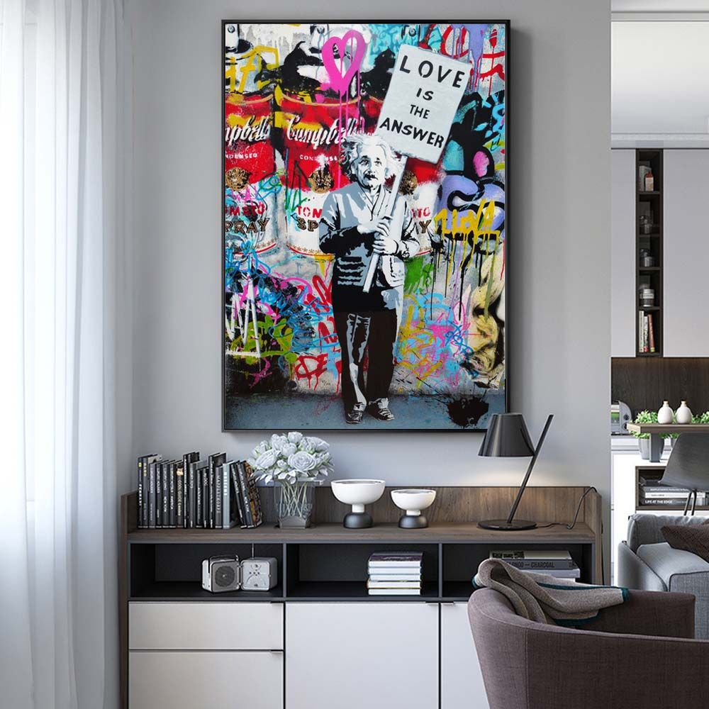 Abstract Oil Paintings Print On Canvas Art Posters And Prints Modern Graffiti Art Wall Pictures For Bed Room Cuadros Decoration Graffiti Wall Art Pop Art Canvas Elegant Wall Art