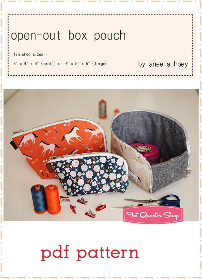 Open-out Box Pouch Downloadable PDF Sewing Pattern Aneela Hoey | Fat ...