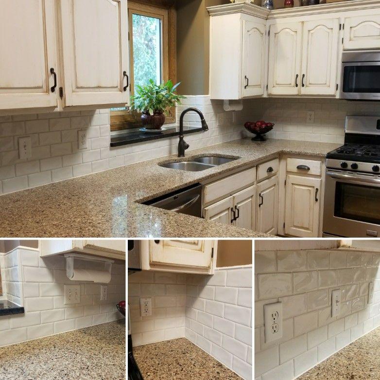 Glazed Kitchen Cabinets And Highland Park Antique White Subway Tile Backsplash Glazed Kitchen Cabinets White Kitchen Decor White Kitchen Countertops