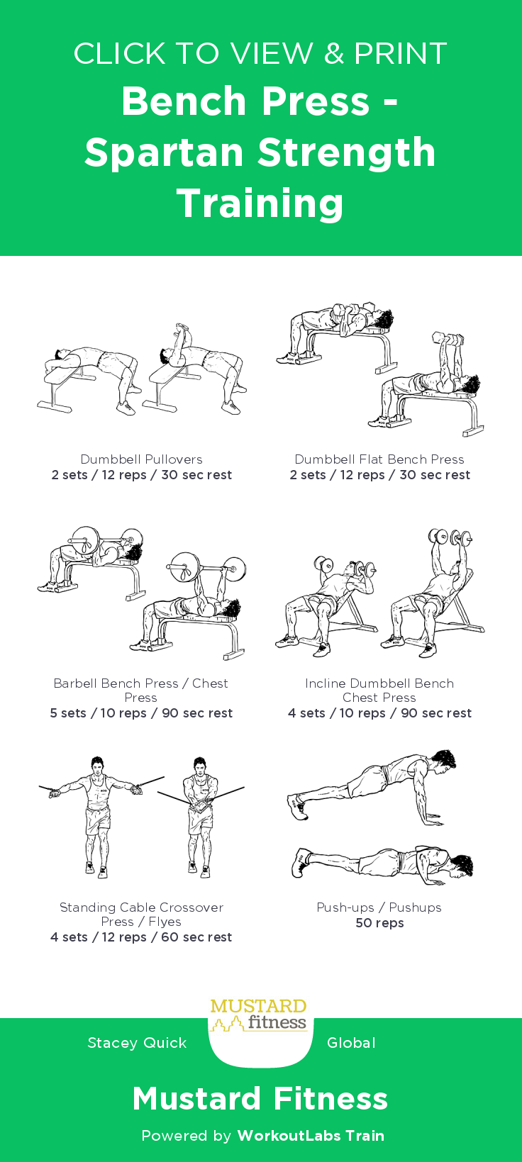 Bench Press Spartan Strength Training Free Illustrated Workout By Stacey Quick At Mustard Fitness View And Dow Bench Press Bench Workout Strength Training