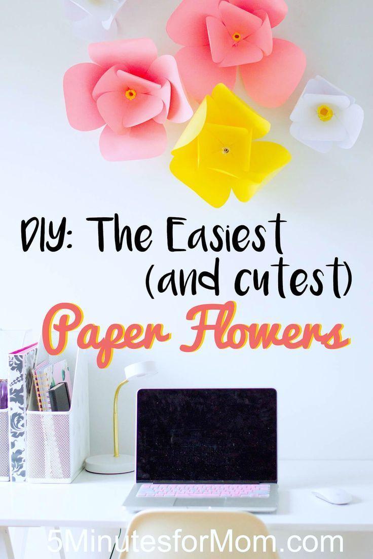 Diy Wall Decor The Easiest Diy Paper Flowers Pinterest Paper