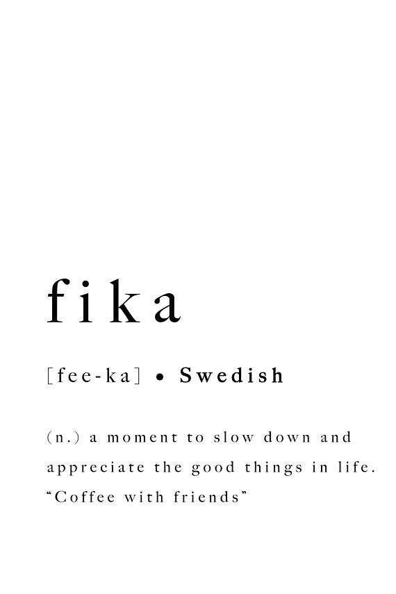 Fika Swedish Quote Print Inspirational Printable Poster Sweden Scandinavian Modern Wall Art Home Dec