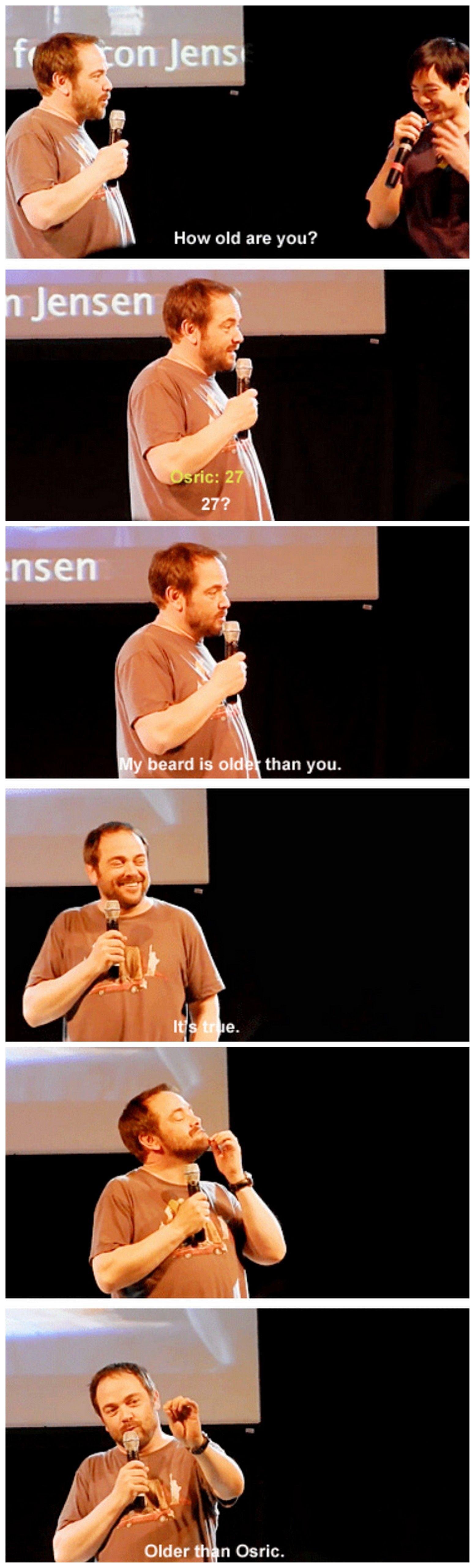 [gifset] Mark teasing Osric about his age :) #JibCon14 #MarkShepard #OsricChau