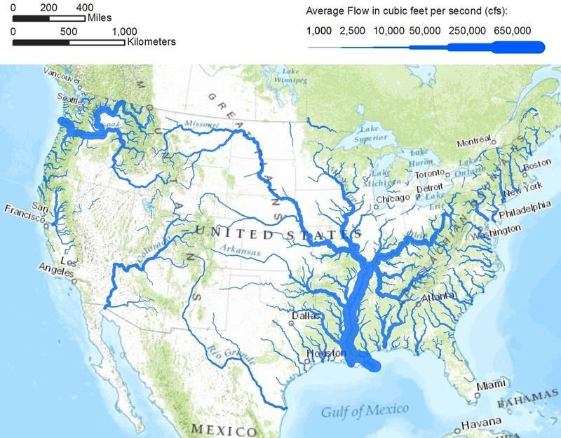 Rivers In The Continental United States Drawn With Line Width - Map continental united states