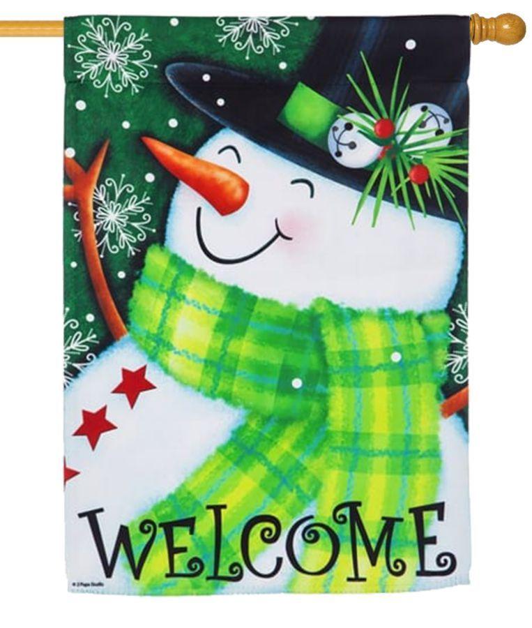 "Winter Snowman Burlap Garden Flag Top Hat Scarf 12.5/"" x 18/"" Briarwood Lane"