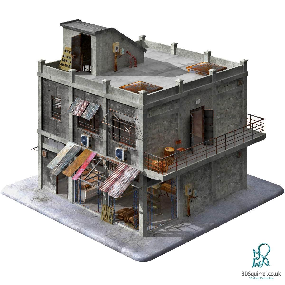 A 3D Model of a building designed inside and out in the